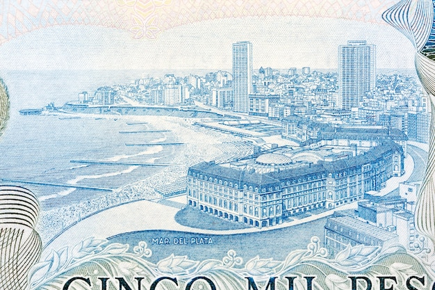 Coastline of mar del plata from argentinian money