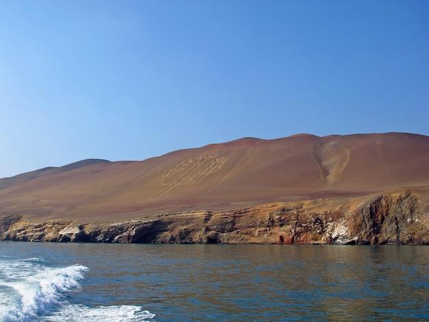 The coastline of pacific ocean, paracas, peru