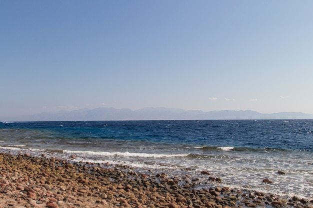 The coastline of the red sea and the mountains . egypt, the sinai peninsula.