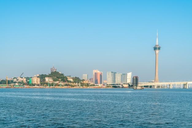 마카오, 중국의 해안선 풍경과 현대적인 건물