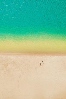 깨끗한 푸른 물과 노란 따뜻한 모래가있는 해안선-바다 휴양과 생태 관광의 개념