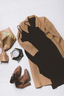 코트와 드레스 가을 여성 캐주얼 복장의 평면도 평면도 평면도 여성 의류