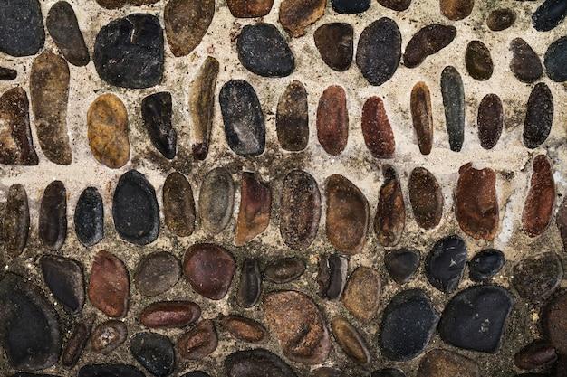 美しいテクスチャcobblesまたは舗装石。上面図。水平。テキストの空きスペース。