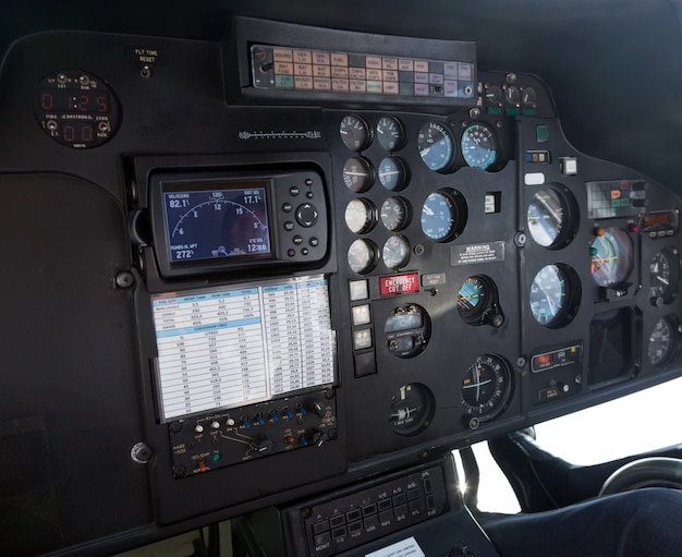 Cockpit of helicopter
