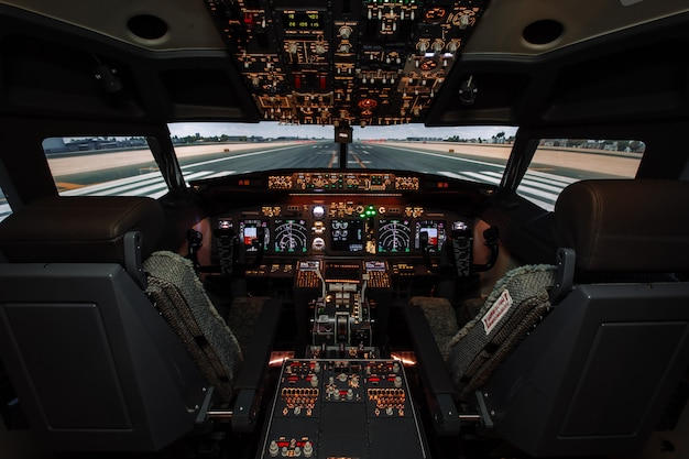 Cockpit of modern boeing aircraft.
