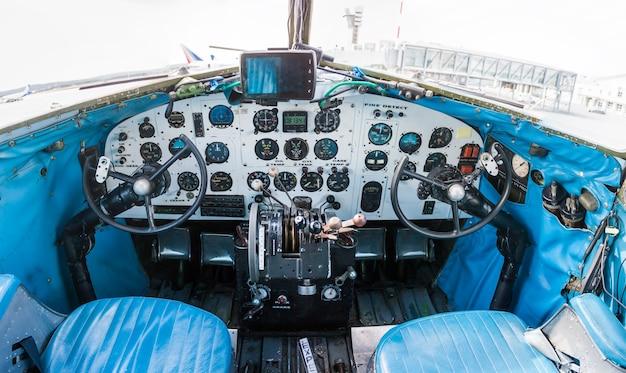 Cockpit of retro plane