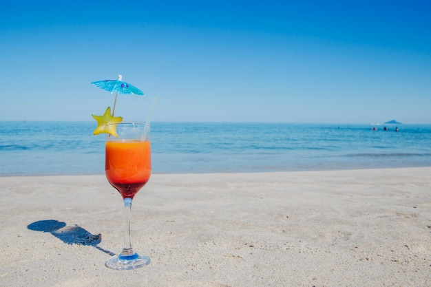 Cocktail on beach in close-up