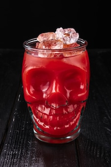 Cocktail bloody mary in skull cup