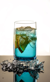 Cocktail blue lagoon with ice