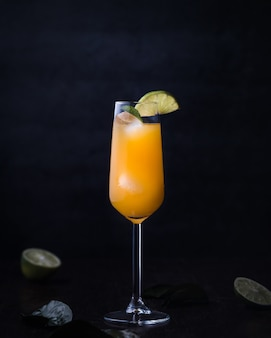 Cocktail drink with alcohol and orange juice