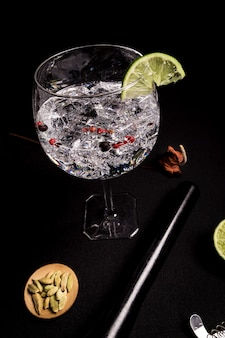 Cocktail of gin and tonic on a black background with ingredients
