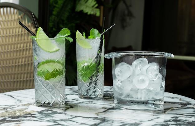 Коктейль джин-тоник или мохито в стакане с мятой, льдом, лаймом на фоне тропических листьев.