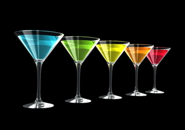 Cocktail glasses isolated on black