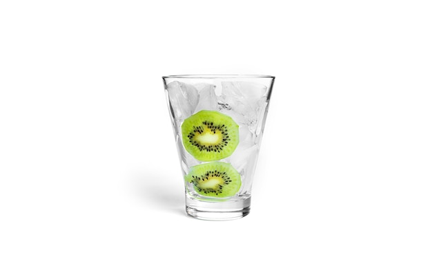 Cocktail isolated on white. ice with kiwi fruit in glass isolated.