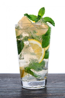 Cocktail mojito with mint and crushed ice