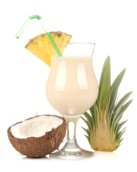 Cocktail pina colada. pina colada refreshing summer alcoholic cocktail with coconut milk and pineapple juice. summer drink. cocktail preparation.