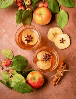 Cocktail of ripe fresh apples with cinnamon in glass glasses