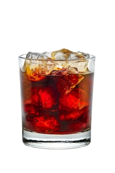 Cocktail rum and cola isolated on white