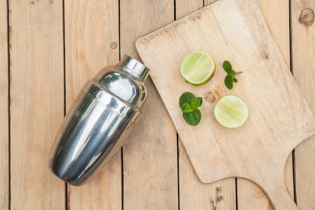 Cocktail shaker with lemon