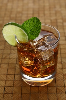 Cocktail with cola and mint