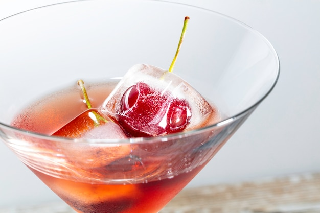 Cocktail with frozen cherries