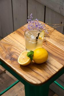 木製の背景にレモンアイスとミントのカクテル