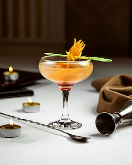 Cocktail with peel of an orange