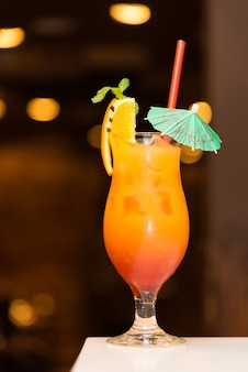 Cocktail with an umbrella.