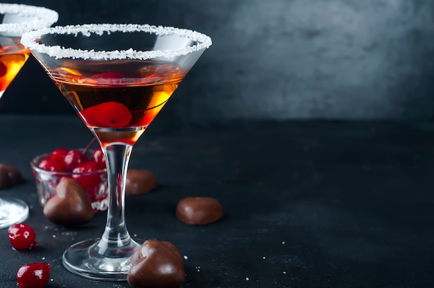 Cocktails with cherry