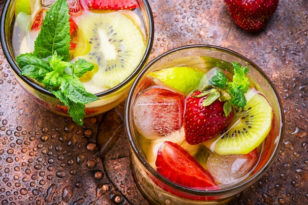 Cocktails with fruits and berries