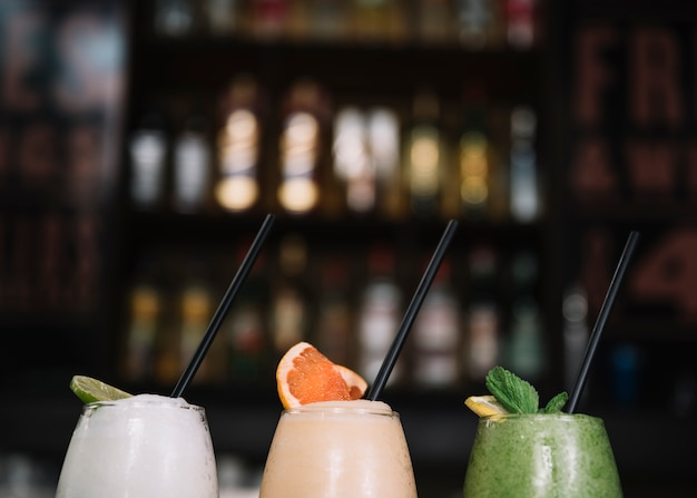 Cocktails with straw