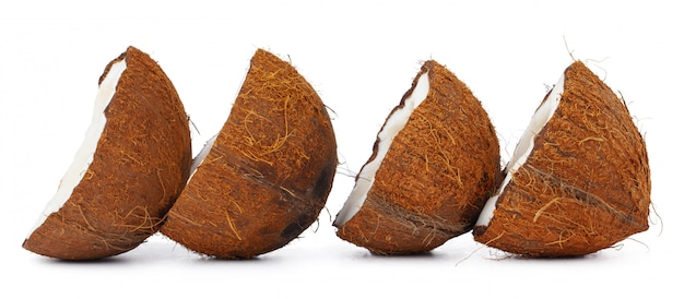 Coco nut halves isolated on white background