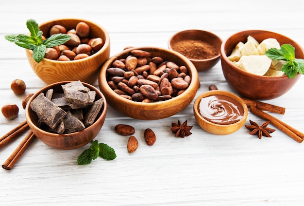 Cocoa beans, butter and chocolate