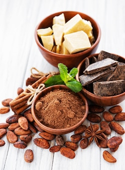 Cocoa beans, chocolate, powder and butter