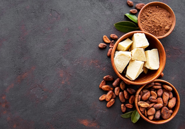 Cocoa beans, powder and cocoa butter