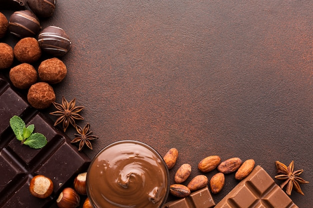 Cocoa beans with spread copy space