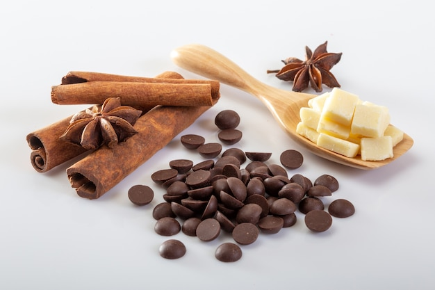 Cocoa and chocolate on a white background.