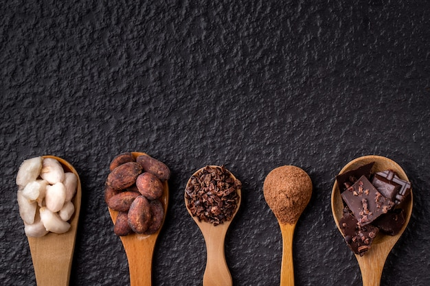 Cocoa and dark chocolate in wooden spoons on wood background