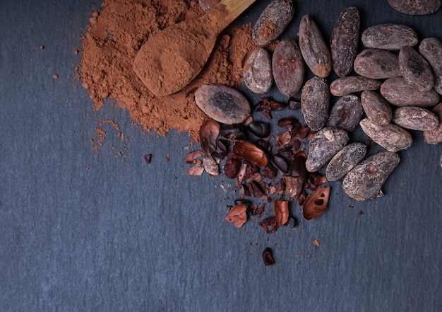 Cocoa powder and beans on the black background, top view