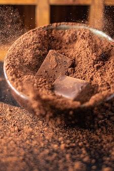 Cocoa powder candie chocolate truffle natural dessert sweets meal snack on the table copy space