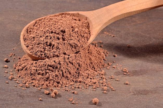 Какао-порошок в деревянной ложке