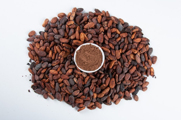 Cocoa powder over raw cocoa beans on white.