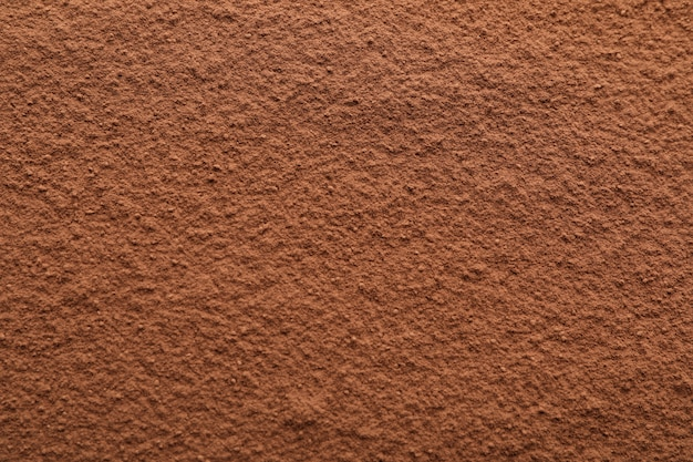 Cocoa powder textured, close up and space for text