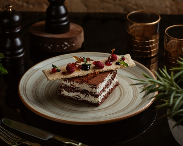 달콤한 크래커와 숲 딸기 위에 코코아 티라미수