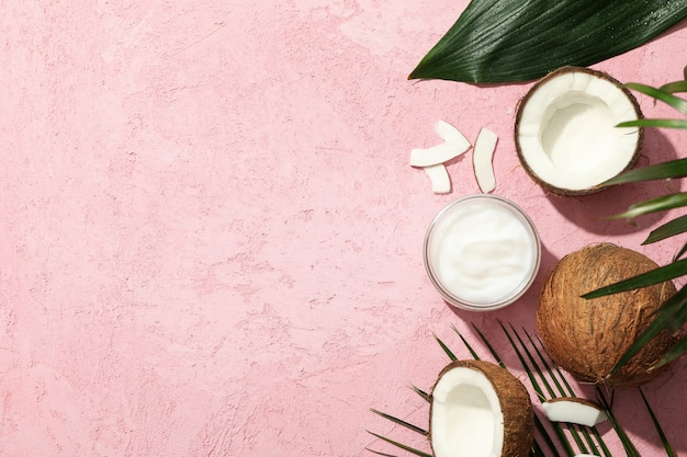 코코넛, 핑크, 평면도에 화장품
