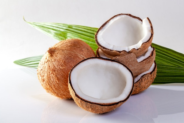 Coconut and coconut oil on white background.