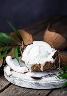 Coconut dessert with ice cream