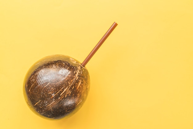 Coconut drink with straw