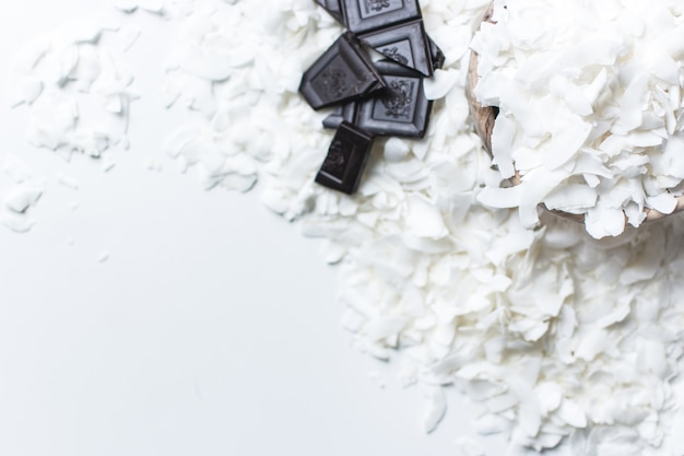 Coconut flakes with dark chocolate