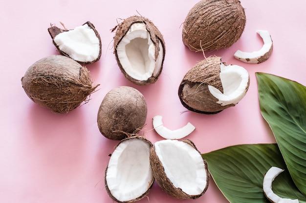 코코넛 반쪽과 열대 나뭇잎